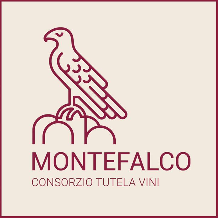 Das Logo des Konsortiums für den Schutz der Weine von Montefalco. Rebsorte Sagrantino di Montefalco