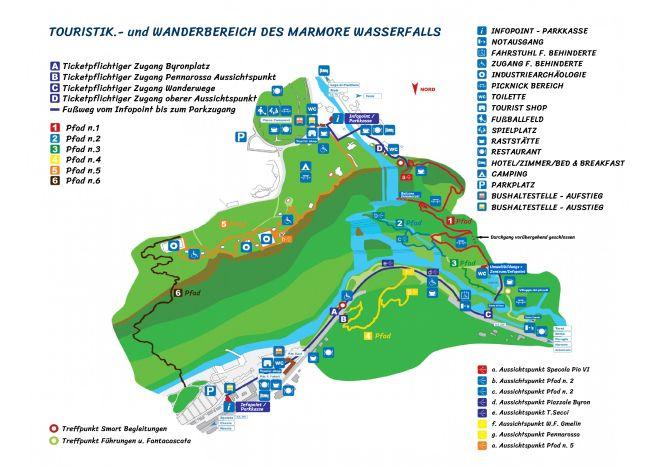 Parkplan des Touristik- und Wanderbereich des Marmore Wasserfalls. Klick zum vergrößern!