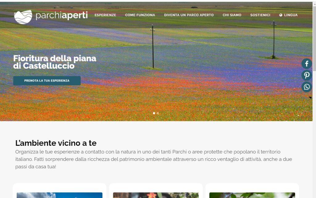 Webseite www.parchiaperti.it wo man die Reservierung für den Zugang zur Castelluccio Blüte an den ersten zwei Juli Wochenenden sichern kann.